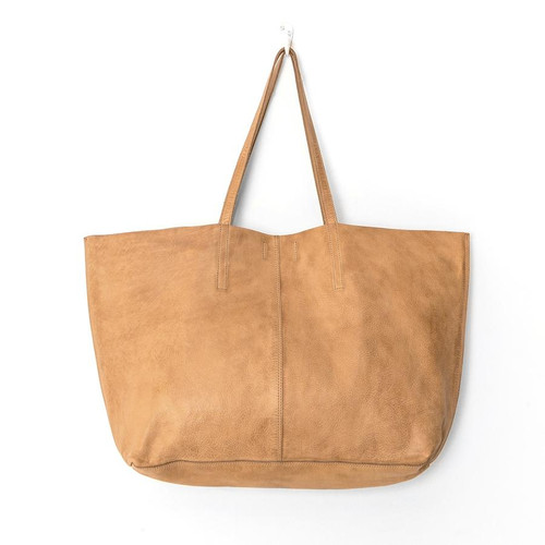Juju & Co Unlined Natural Leather Tote Bag
