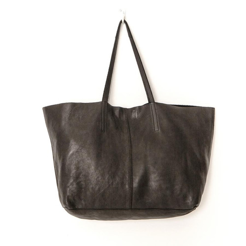 Juju & Co Unlined Black Leather Tote Bag