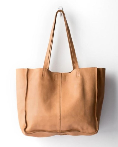 Juju & Co Baby Unlined Leather Tote Bag Natural