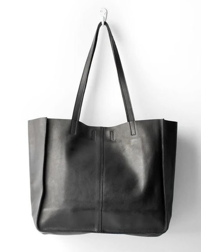 Juju & Co Baby Unlined Leather Tote Black
