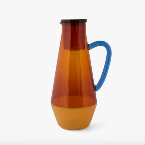 Two Tone Amber Glass Carafe