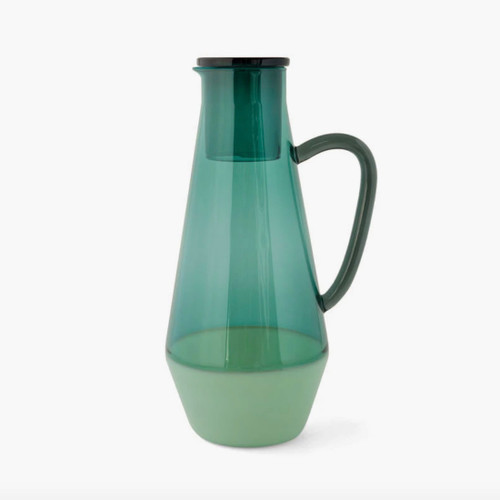 Two Tone Green Glass Carafe