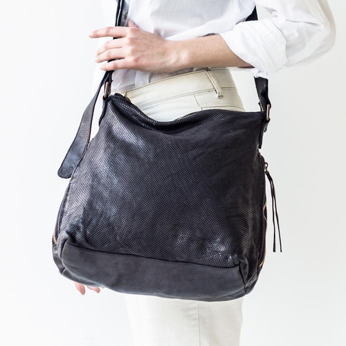Juju & Co Perforated Slouchy Black Leather Bag