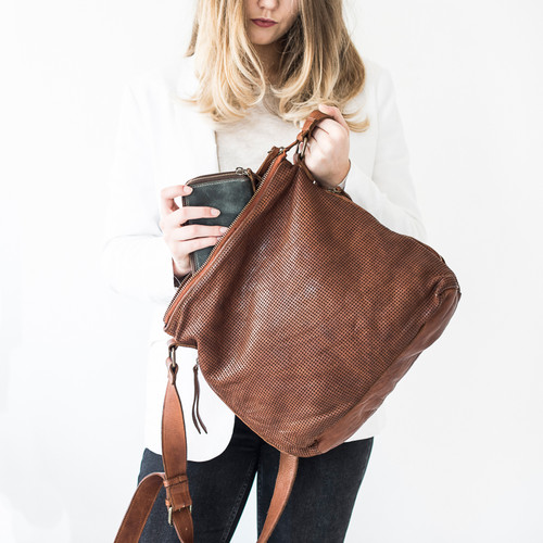 Juju & Co Perforated Slouchy Cognac Leather Bag