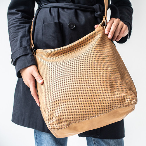 Juju & Co Perforated Slouchy Natural Leather Bag