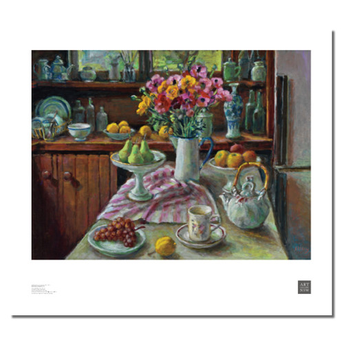Margaret Olley, Ranunculus and Pears Print
