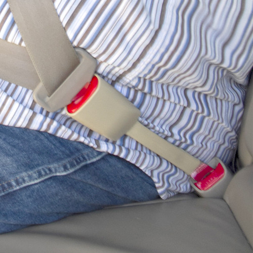 Beige Rigid Extender in Use with a Plus-Sized Passenger