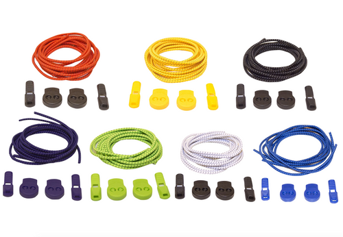 Stretch Elastic Shoelaces 7-Pack With Ever-Tie Clips
