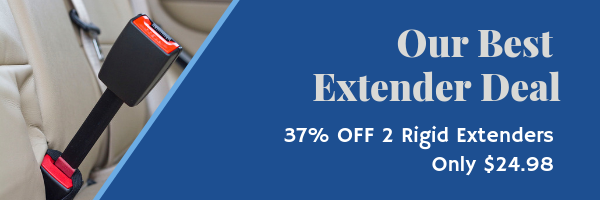 A black rigid seat belt extender depicted rising out of a buckle in the back seat of a car with a tan interior to the right of a blue background with white lettering that says Our Best Extender Deal, 2 Rigid Extenders for Only $24.98 - 37% OFF!
