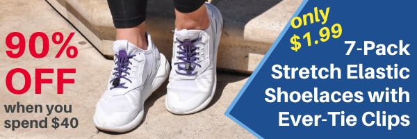 A banner that advertises 90% Off a 7-Pack of Stretch Elastic Shoelaces with Ever-Tie Clips When You Spend $40 with a picture of the shoelaces in use