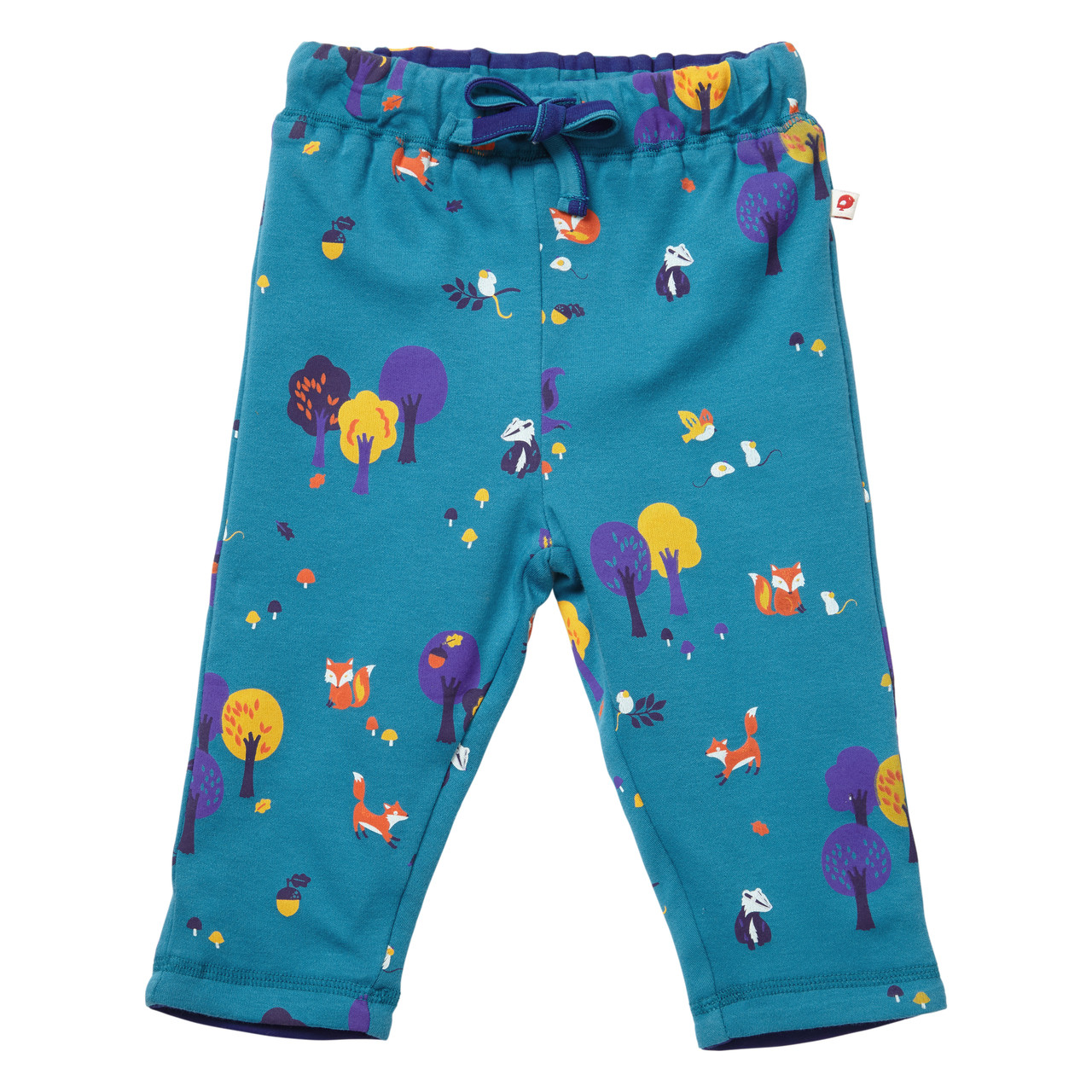 Piccalilly Organic Cotton Unisex Teal Blue Woodland Print Reversible Trousers