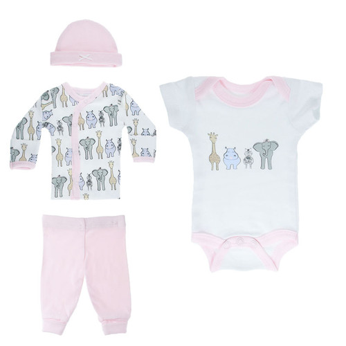 Safari Newborn 7.5Lbs 4piece set in Pink