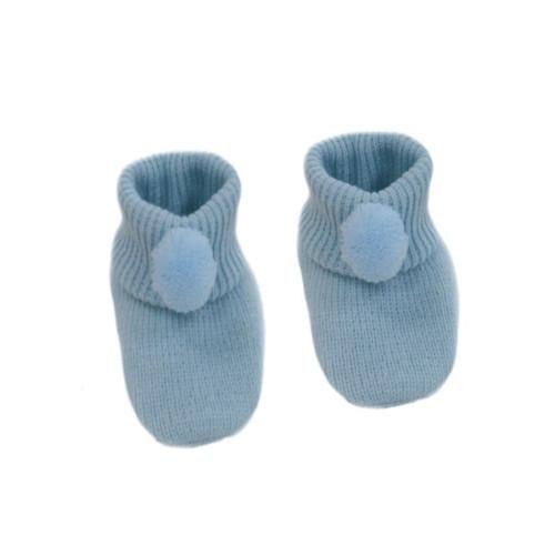 Blue PomPom booties
