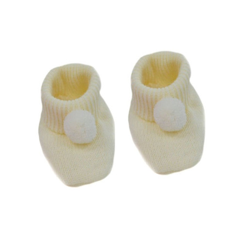 Cream PomPom booties