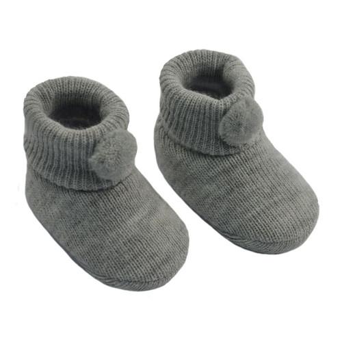 Grey PomPom booties