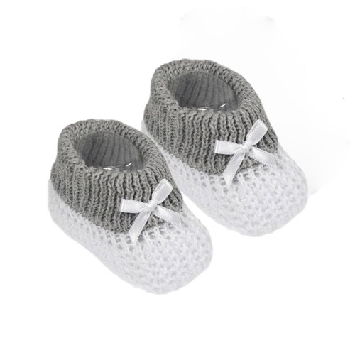 100% Cotton Booties  with bow White with Grey