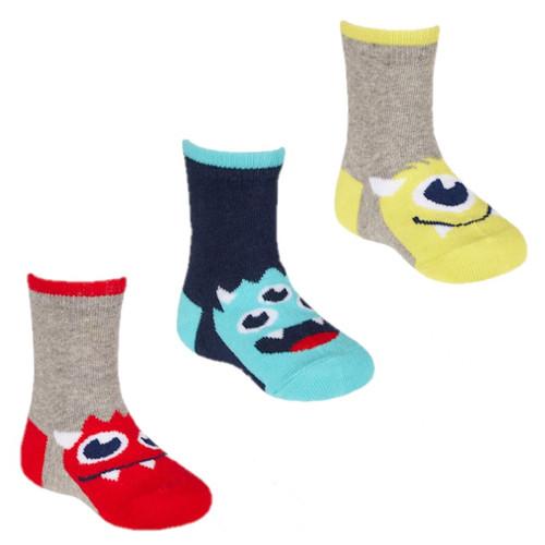3 pack striped top monster socks by Tiktok grey marl