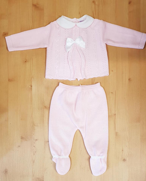 Baby Pink Knitted two piece Cable and Bow