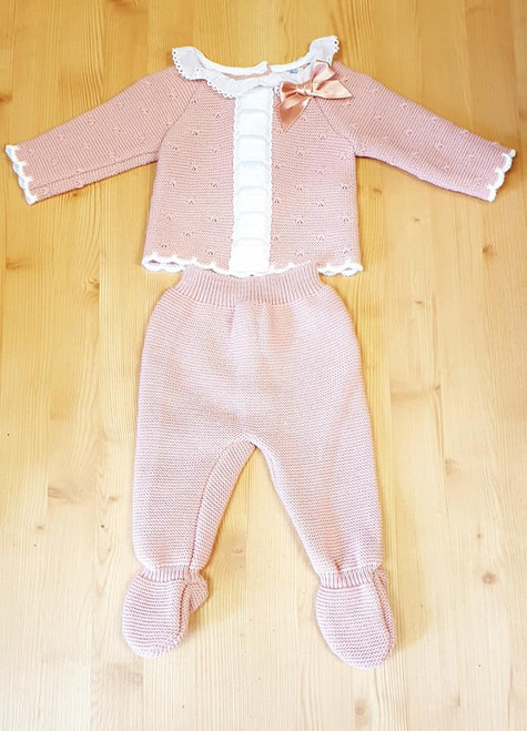 Dusky Pink Knitted two piece ribbon and Lace