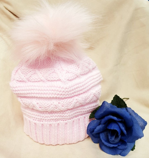 Baby Pink  fancy knit baby hat and faux fur pompom,