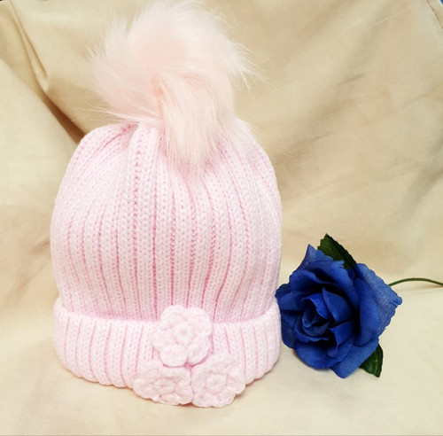 Baby Pink knit baby hat with crochet flowers and faux fur pompom,