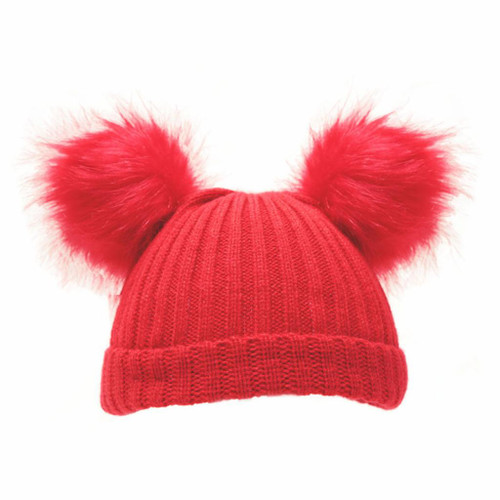 Red Rib knit hat with faux fur double pompoms
