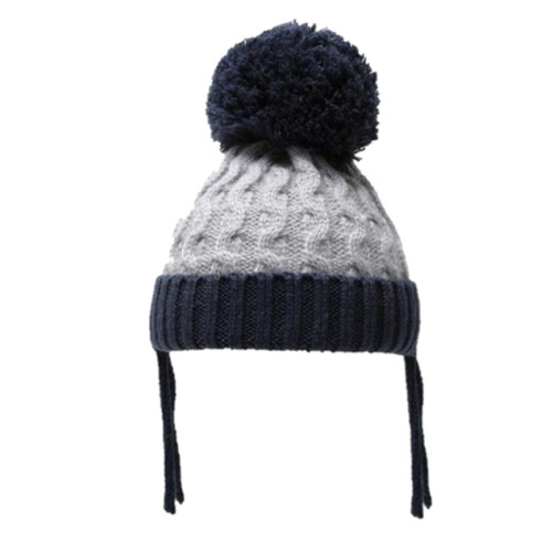 Ribbed and cable pom pom hat (Grey Navy)