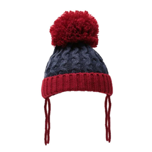 Ribbed and cable pom pom hat (Navy red)