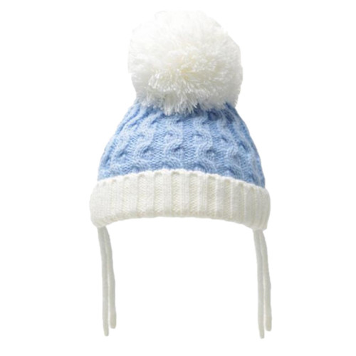 Ribbed and cable pom pom hat (Sky Blue and white)