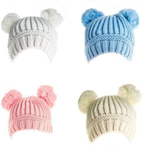 Plain ribbed double pompom hat