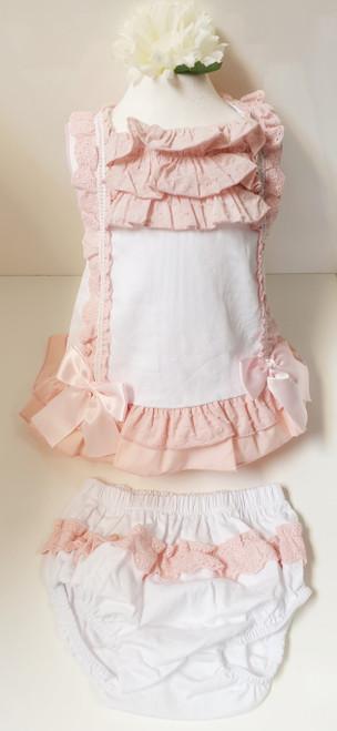 Vera ruffled baby dress with frilly knickers set