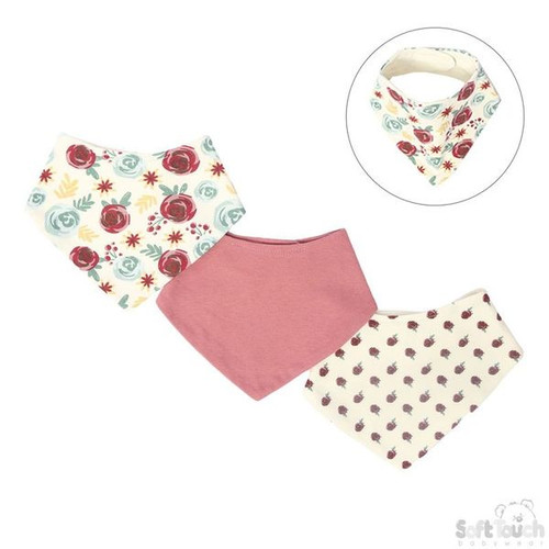 3 pack bandana bibs - Floral Plum
