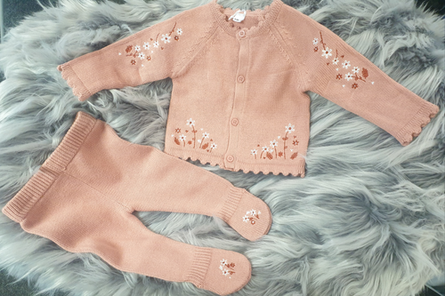 Floral embroidered two piece knit set