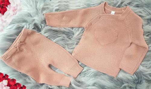 Heart two piece knit set