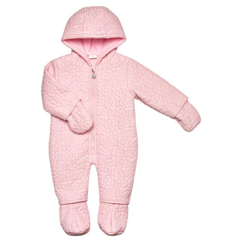 Quilted Flower Snowsuit Pink