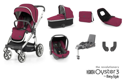 Oyster 3 Luxury 7 piece Bundle Cherry with matching car seat and and isofix