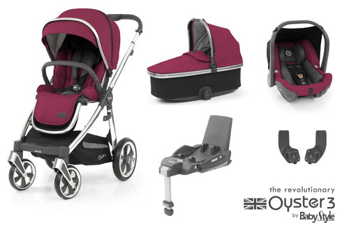 Oyster 3 Essential 5 piece Bundle Cherry with matching car seat and and isofix