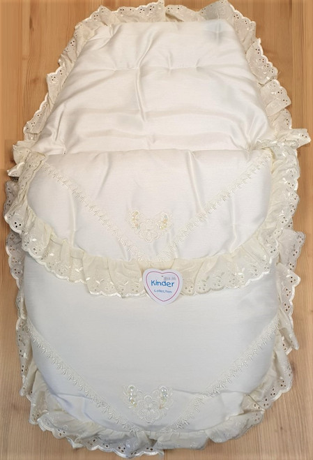 Cream  sequin frill 3in1 Footmuff, Liner and babynest