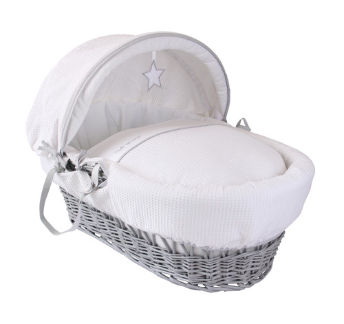 Silver Lining Grey Wicker Moses Basket