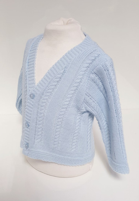 Blue cable knit V neck cardigan