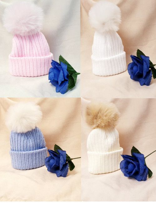 Faux Fur Single Pom Pom hat