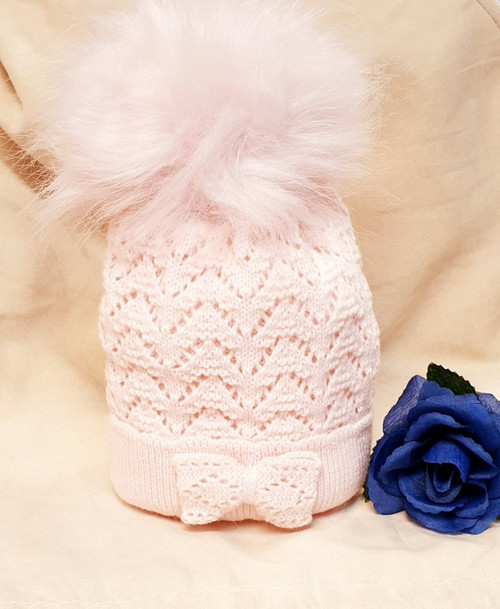 Baby Pink double layer chevron knit baby  hat with bow and faux fur pompom,