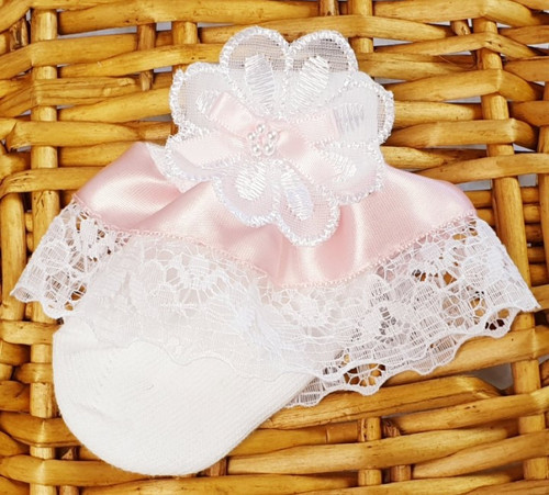 Baby Pink Pink ribbon - White Frilly sock