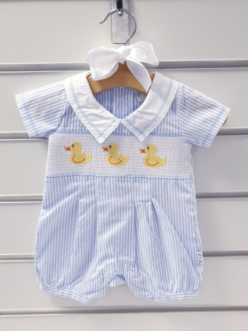 Striped Summer Romper with Duck embroidery and smocking