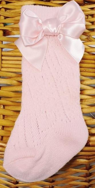 Knee High bow pelerine socks -Pink
