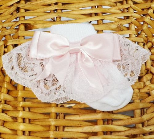 Pink frilly sock -long frill