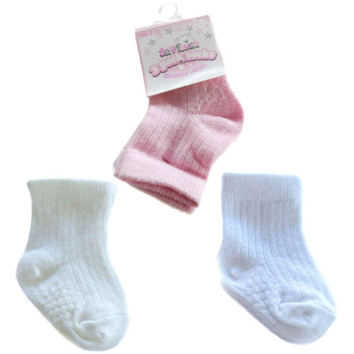 3 pack ribbed with dots cotton socks (pink white cream)
