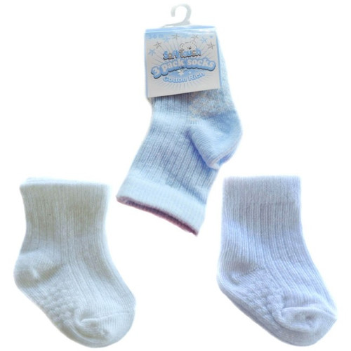 3 pack ribbed with dots cotton socks (blue white cream)