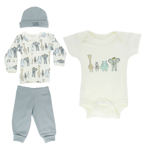 Safari Newborn 7.5Lbs 4piece set in Grey