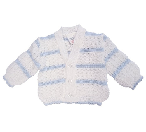 Striped knitted V neck Cardigan (Blue/White)